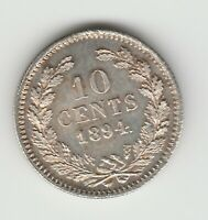 Netherlands 10 cents 1894 Wilhelmina silver .640 aUNC KM 116