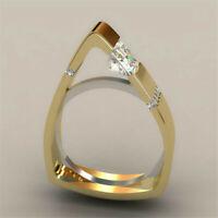 18K Yellow Gold Plated White Topaz Irregular Ring Women Wedding Gift Size 5-11