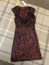 French Connection Red Sequin Cowl Neck Dress Size 10 Brand New With Tags