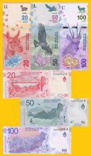 Argentina Set 20, 50, 100 Pesos 2017-2018 UNC Banknotes