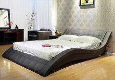 Greatime B1041 California King Dark Brown Wave-like Shape Platform Bed