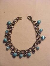 "Blue Moonstone Beaded Bracelet Silver Cable Link 7-3/4"""