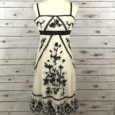BCBG Maxazria Women's Medium Ivory Black Embroidered Tulle Laced Dress