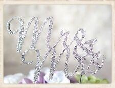 """Mr & Mrs""Crystal Rhinestone Silver Cake Topper-Classical"