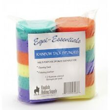 Equi-Essentials Pack of 12 Sponges Purple Green Orange Yellow Tack Cleaning NEW