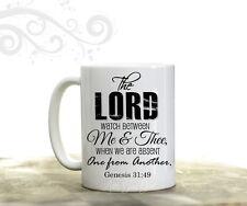 Christian Verse Coffee Mug The Lord watch Me & Thee Genesis Coffee Cup