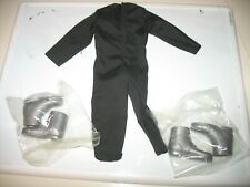 BLK jumpsuit 70's style W/ SILVER BOOTS SILVER  get today   1:6 scale