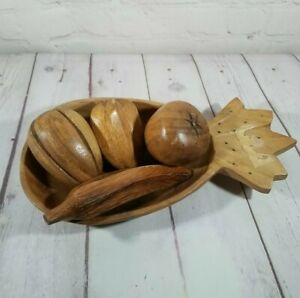 """Vintage 12"""" Wooden Carved Pineapple Shape Bowl Fruits & Veggies 5 Pieces Banana"""