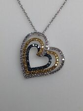 10K White Gold Blue Yellow and White Diamond Triple Heart Pendant and Chain New