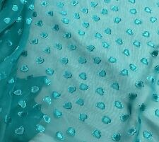 Chiffon Fabric - Turquoise Embroidered Hearts 1/3 yard remnant