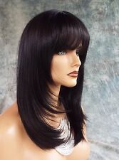 LARGE CAP LONG  WIG HEAT SAFE SKIN TOP✯ COLOR # 1B  STRAIGHT CLASSY STYLE 1069