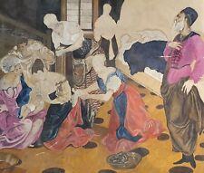 Antique modernist portrait oil painting theatre scene design