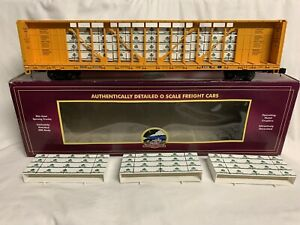 ✅MTH PREMIER TTX CENTER I BEAM FLAT CAR W/ WOOD LUMBER LOAD 20-98776! O SCALE