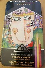 Prismacolor Premier 24 Colored Pencils Smooth Rich Color in Tin case NEW Vibrant