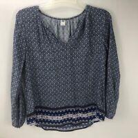 Old Navy Women's V Neck Long Sleeve Peasant Tunic Top Blouse Blue Size Medium