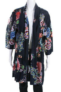 Johnny Was Womens Cotton Floral Print Open Front Boho Duster Jacket Blue Size XL