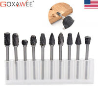 """Carbide Burr Set 1/8"""" Drill Bits Cutter for Dremel Rotary Tool File set Tungsten"""