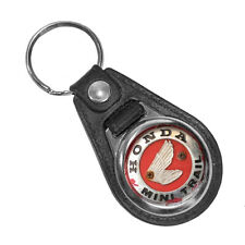 Honda Mini Trail Wings Badge Rusted Weathered Round Faux Leather Key Ring