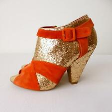 MOLLINI Orange Suede and Gold Sequins High Heel Ankle Boots Size 38
