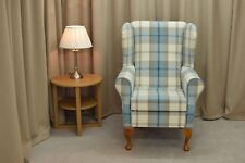 Wingback Fireside Armchair in Balmoral Sky Blue Fabric  - NEW