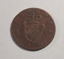 1781 Ireland 1/2 Penny Copper World Coin Irish Eire Hibernia c