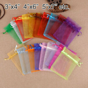 50-500PCS Organza Candy Bags Wedding Party Favor Gift Jewelry Pouch Sheer Decor
