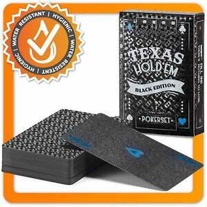 Schwarze Pokerkarten - Spielkarten Schwarz Luxus Poker Kartenspiel aus Plastik