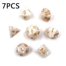 7 pièces 1 ensemble blanc polyédrique dé pour MDN RPG MTG Jeu de société PARFAIT