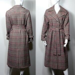 M&S Long Belted TRENCH COAT with WOOL ~ Size 16 ~ Wine Beige Mix CHECK (rrp £99)