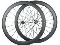 Light Weight Carbon Bike Road Wheels 50mm Powerway  R13 Hub Flat/Aero Spokes