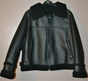 MARKS & SPENCERS FAUX SHEARLING BORG LINED AVIATOR JACKET SIZE 18 - BNWT