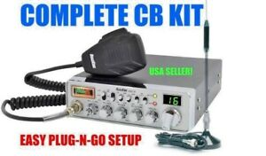 COMPLETE CB RADIO KIT ANTENNA CABLE MAGNET MOUNT COBRA UNIDEN ROADKING GALAXY 40