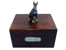 Beautiful Paulownia Wooden Personalized Urn Black Doberman Pinscher Figurine