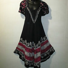 Dress Fits XL 1X Plus Sundress Blue Pink Batik Lace Sleeves A Shaped NWT G403