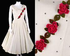 VTG 1950s IVORY SLEEVELESS RHINESTONE ROSE FLOWER EMBELLISHED PARTY DRESS Size S