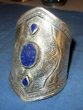 "Bracelet Gemstone Large Cuff Afghan Kuchi Tribal Alpaca Silver 3"" dia"
