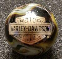 """Rare ® Harley Davidson Gold Bar & Shield On Black Grey Green 7/8"""" Swirl Marble"""