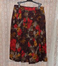 """Cece Fun Fall Skirt Womens 34"""" Autumn Flowers Size Zip Elastic Back Waist"""