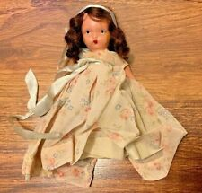 Vintage Nancy Ann Storybook Doll - Bisque - Floral Print Dress - Brunette