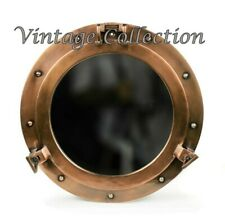 "15"" Porthole Mirror ~ Antique Brass Finish ~ Nautical Boat Cabin Wall Decor"