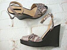 "Longchamp $450 Women's Wedges 5"" Heel High Size 38 Snake Print Leather Sandals"