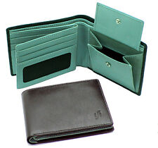 Starhide Mens Real Leather Wallet With Photo ID And Coin Pocket 1216 Black/Green