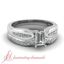 .85 Ct Emerald Cut Diamond Bow Channel Bridal Rings Set Solid 14K White Gold GIA