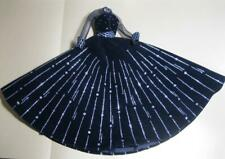 Barbie doll Elegant Sheer Long Sleeve Black/Silver Thread Long Dress Gown Outfit