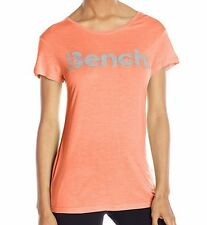 Bench Women's Expate Tee T-Shirt Reflective Logo Fusion Coral Size XS-Small
