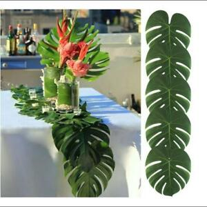 Tropical Hawaiian Artificial Palm Leaves Jungle Foliage Luau Party Decors AA