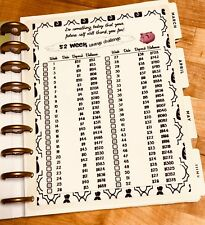 52 Week Savings Challenge Two Sided Dashboard Insert for use with HAPPY Planner