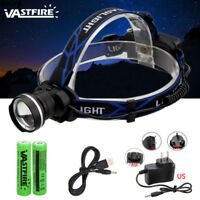 Zoomable 10000Lumen T6 LED Head Headlamp Rechargeable Head Lamp Flashlight 18650