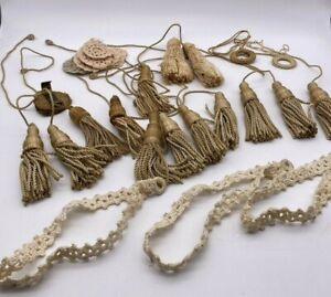 LOT of Vintage Cloth Pulls Curtain Drapery Tie Backs Tassels Rope Cord Crocheted