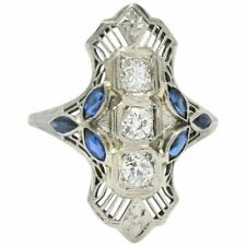 Edwardian Style Filigree Ring with Diamond and Sapphire Milgrain Sterling Silver